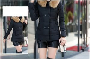 Faux Fur Trim Hooded Padded Jacket